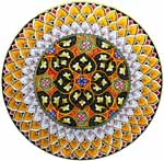 Ceramic Majolica Plate GEO 4 Orange White Black Red 47cm