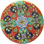 Ceramic Majolica Plate GEO G8 Red Green Blue 739 25cm