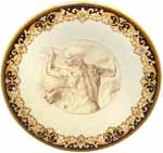Ceramic Majolica Plate Michaelangelo Brown 739 35cm