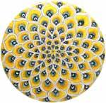 Ceramic Majolica Plate Peacock Yellow MRN 30cm