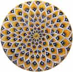 Ceramic Majolica Plate Peacock Yellow MRN 35cm