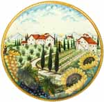Ceramic Majolica Plate Tuscany Grape Country 42cm