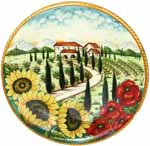 Ceramic Majolica Plate Tuscany Poppy Country 35cm
