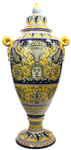 Italian Ceramic Floor Urn - Medieval Blue-Yellow