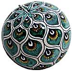 Ceramic Majolica Christmas Ornament Peacock Green 9cm