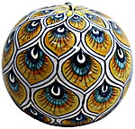 Ceramic Majolica Christmas Ornament Peacock Yellow 9cm