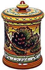 Ceramic Majolica Coffee Jar Tuscan Grapes 20cm