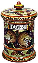 Ceramic Majolica Coffee Jar Tuscan Pomegranate 20cm