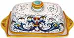 Ceramic Maiolica Covered Butter Dish Tray Ricco Deruta