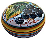 Ceramic Majolica Covered Curved Box Grapes Black 7cm
