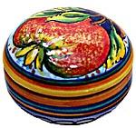 Ceramic Majolica Covered Curved Box Pomegranate 5cm