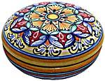 Ceramic Majolica Covered Curved Box Star8 Orange 10cm