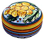Ceramic Majolica Covered Curved Box Yellow Flower 5cm