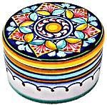 Ceramic Majolica Covered Cylinder Box Octogon Star 5