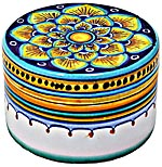 Ceramic Majolica Covered Yellow Petals Cylinder Box 5cm