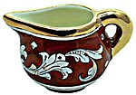 Ceramic Majolica Creamer Gold Leaf Red Rubino 10cm