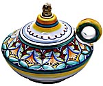 Ceramic Majolica Oil Lamp 1206 10 Handle Red Yellow