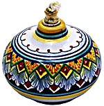 Ceramic Majolica Oil Lamp 1206 11 Red Blue Yellow