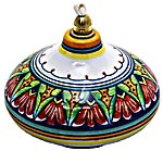 Ceramic Majolica Oil Lamp 1206 3 Red Green Blue
