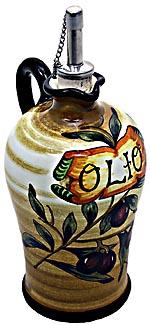 Ceramic Majolica Olive Oil Dispenser Brown OLV N 20cm