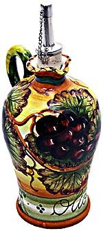 Ceramic Majolica Olive Oil Dispenser Grapes N 20cm