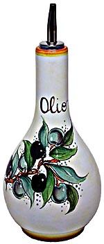 Ceramic Majolica Olive Oil Dispenser Green Black N 20cm