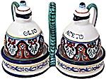 Ceramic Majolica Olive Oil Vinegar Cruet Jubilant BR 15