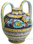 Ceramic Majolica Pitcher Handle Acanthus Blue FD 38