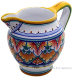 Ceramic Majolica Pitcher Orange Green 1225 12cm