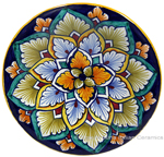 Ceramic Majolica Plate G04 Brown Light Blue 12cm