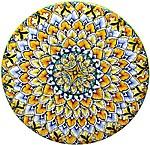 Ceramic Majolica Plate G04 Green Yellow Black 739 30cm