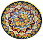 Ceramic Majolica Plate G08 Pink Blue Orange 15cm