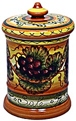 Ceramic Majolica Salt Jar Tuscan Grapes 20cm