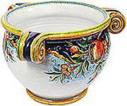 Deruta Italian Vase - Pomegranate with Scrolls