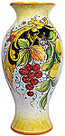 Deruta Italian Ceramic Vase - Lemons and Grapes