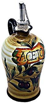 Ceramic Majolica Vinegar Dispenser Olive Brown N 20cm