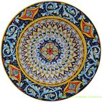 Ceramic Majolica Plate Light Blue Scrolls 35cm
