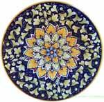 Ceramic Majolica Plate Snowflake Blue 20cm