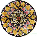 Ceramic Majolica Plate Brown Black Orange FDL