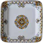 Italian Square Platter - Brown/Black/Orange - 30cm