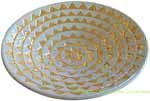 Italian Ceramic Centerpiece Bowl - Creme and Gold