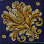 Tile Acanthus Flower Blue