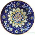 Ceramic Majolica Plate Flower Dark Blue