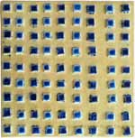 Tile - Gold with Blue Squares