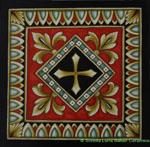 Tile Cross - Fleur De Lis - Red Black