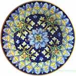 Ceramic Majolica Plate Geometrico Dark Blue 25cm
