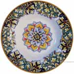 Italian Ceramic Pasta Bowl - Vario Antico - Flower4 Blue