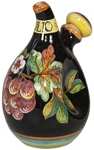 Olive Oil Dispenser GP Pinched Black with Red Grapes 20cm