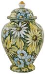 Italian Ceramic Centerpiece Urn - Green Floral