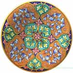 Ceramic Majolica Plate Geometrico Green Orange